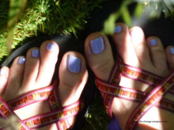 Susie's purple toes in sandals